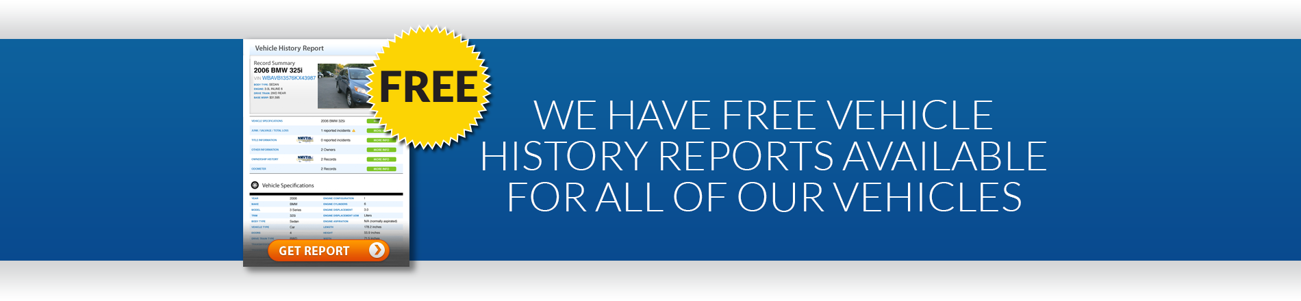 Free vehicle history reports